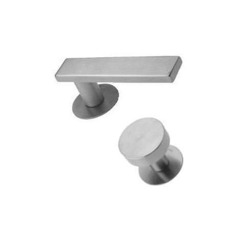 Knob-Door handle Entero II stainless steel flat rosettes