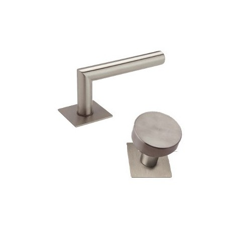 Knob-Door handle Lusy stainless steel flat rosettes square