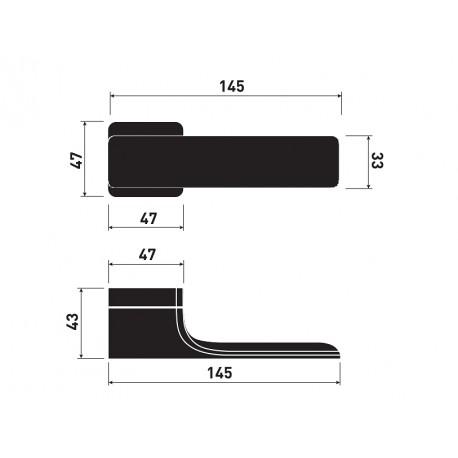 Door Handle Minimal M&T square rosette
