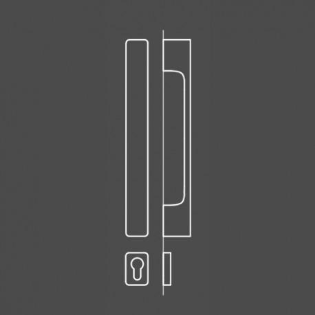 Pochwyt MINIMAL z rozetą na wkładkę patentową do drzwi